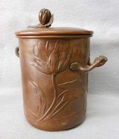 Arts & Crafts, Art Nouveau Copper Canister Humidor w/ Water Lily - For sale on Ruby Lane #RubyLane #ArtsCrafts
