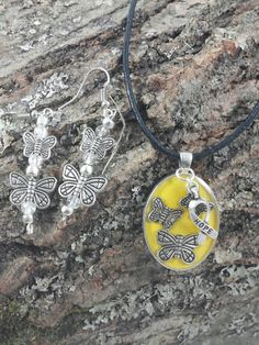 Awareness necklace handmade resin butterfly autism jewelry earring set.  by GenevasSky