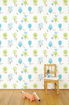 Fabel wallpaper by Tis Lifestyle Wallpaper Stickers, Kids Room Wallpaper, Kidsroom, Retro Design, Girls Bedroom, Design Inspiration, Nursery, Kids Rugs, Lifestyle