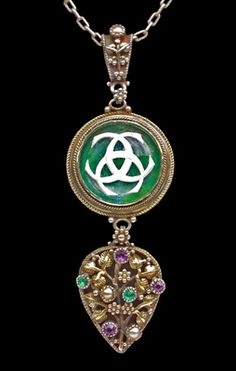 Arts & Crafts Suffragette Pendant; Silver, gold, crystal, amethyst & emerald