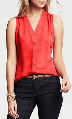 pretty #red sleeveless blouse http://rstyle.me/n/hbqcrr9te