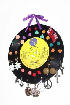 Items similar to Record Earring Display Holder, Function Crisis Jewelry Case, Fashion Accessories, Music Lover on Etsy Old Vinyl Records, Vinyl Record Art, Record Crafts, Recording Studio Design, Madonna, Original Gifts, Earring Display, Jewelry Case, Jewlery