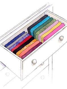 try arranging folded piles of clothes horizontally, filling each drawer from front to back.