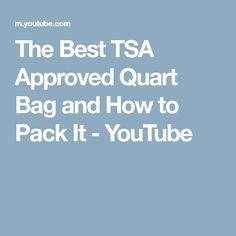 The Best TSA Approved Quart Bag and How to Pack It - YouTube