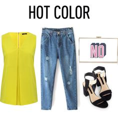 Hot color by bius1522 on Polyvore featuring M&Co and Anya Hindmarch