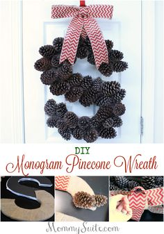 How to make a DIY Monogram Pinecone Wreath. This wreath is super inexpensive to make and a great addition to any home for the holidays. Pine Cone Art, Pine Cone Crafts, Wreath Crafts, Diy Wreath, Pine Cones, Fall Crafts, Christmas Projects, Holiday Crafts, Crafts To Make