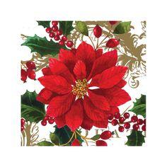 Painted Petals Holiday Beverage Napkins. #Christmas #beveragenapkin #poinsettia