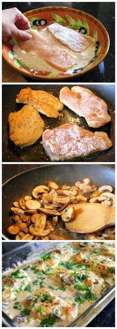 Chicken Gloria - use Baby Bella mushrooms and chicken broth instead of the wine.