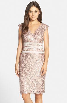 Tadashi Shoji Sequin Lace Sheath Dress (Regular