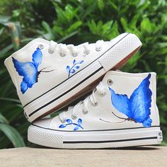 Hand painted canvas shoes - Blue Butterfly