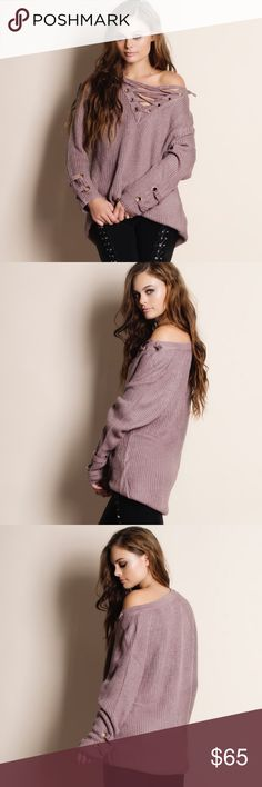 """Murmur Lace Up Sweater Top Lace up sweater top in mauve. This is an ACTUAL PIC of the item - all photography done personally by me. Model is 5'9"""" 32-24-36 32A wearing the size small. NO TRADES DO NOT BOTHER ASKING. PRICE FIRM. Bare Anthology Sweaters V-Necks"""