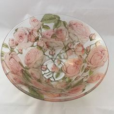 Pink roses bowl by GlassBowlsByKatyJean on Etsy