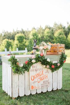 Drink Station with Lush Greenery + Flowers | Photography: Katelyn James Photography - katelynjames.com