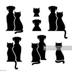 Gatos Vetores e Ilustrações Royalty-Free - iStock Free Vector Graphics, Free Vector Images, Vector Art, Vector Stock, Dog Silhouette, Silhouette Vector, Gato Gif, Vector Trees, Stock Foto
