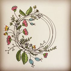Trendy Floral Wreath Trendy Flowers Wreath Doodle Amazing Step by Step Flower Doodles for Bujo Addicts - Crazy LauraWould you like to add some cute floral doodles to your Bullet Journal ? Wreath Drawing, Flower Doodles, Doodle Flowers, Daisy Flowers, Faux Flowers, Lotus Flower, Vintage Flowers, Spring Flowers, White Flowers