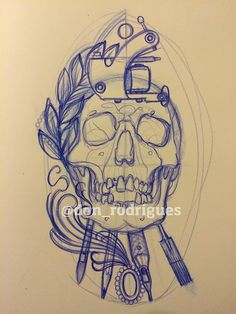 Tattoo Caveira Art Nouveau ( Neo Traditional ) Passo a Passo Sketch Tattoo Design, Tattoo Sketches, Tattoo Drawings, Tattoo Designs, Tattoo Outline, Tatoo Art, Tatuagem Art Nouveau, Tattoo Caveira, Skull Rose Tattoos