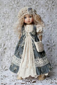 Clothes for Little Darling Outfit for doll Dress with lace Boho dress Dianna Effner Dress for doll Clothes for dolls Girl Doll Clothes, Doll Clothes Patterns, Barbie Clothes, Girl Dolls, Dress Patterns, Mori Mode, Mori Fashion, Child Doll, Baby Girl Dresses