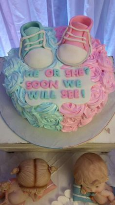 Gender reveal baby shower party cake! See more party ideas at CatchMyParty.com!