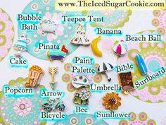 Nail Charms Collection Beach ball, Surfboard, Bubble Bath, Pinata, Birthday Cake, Banana, popcorn, Bumble Bee, Holy Bible, Paint Palette, Bicycle, Teepee Tent, Arrow, Sunflower, Umbrella, The Iced Sugar Cookie For Nails Banana Beach, Nail Charms, Teepee Tent, Painted Cakes, Beach Ball, Bubble Bath, Pick One, Fun Nails, Popcorn