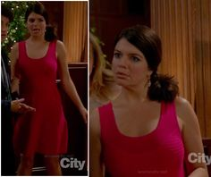 Penny's pink flared dress on Happy Endings.  Outfit details: http://wornontv.net/15553/