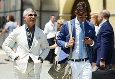 Tommy Ton's Street Style: Pitti Uomo: Style: GQ Loving the white and blue combo.