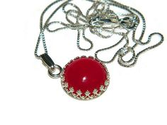 Red Chalcedony Necklace Sterling Silver by JewelrybyDecember67
