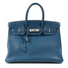 Hermes 35 cm Tallahase blue Birkin featured by Only Authentics, an exhibitor at the Baltimore Summer Antique Show. #BaltShow