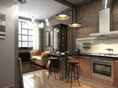 Cool industrial apartment interior with exposed brick wall kitchen also lighting fixture and cozy breakfast nook style Loft Kitchen, Apartment Kitchen, Living Room Kitchen, Apartment Interior, Rustic Kitchen, Kitchen Decor, Kitchen Industrial, Apartment Living, Kitchen Ideas