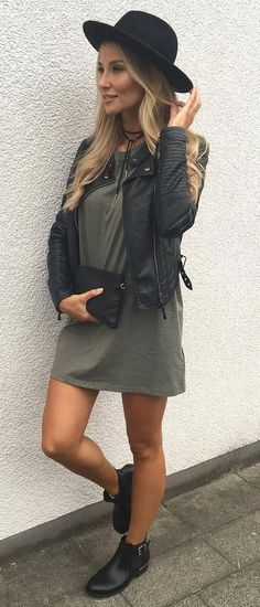 how to style a hat : black moto jacket + dress + bag + boots