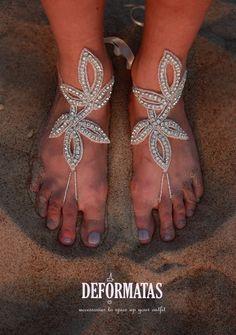Bridal Swarovski Crystal Barefoot SandalsBoho Slave by deformatas, $37.00