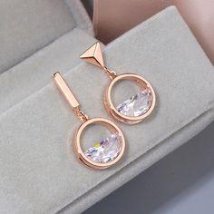 Asymmetric Geometric Shape Rose Gold Color Crystal Drop Earrings Fashion Earrings, Women's Earrings, Crystal Gifts, Female Friends, Crystal Drop, Rose Gold Color, Shape Patterns, Geometric Shapes, Gifts For Mom