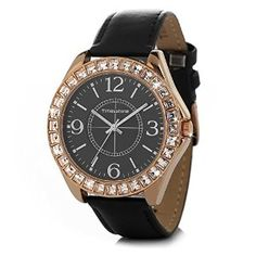 Timesshine Women's TSL1477 Sparkly Crystal Diamond Watch With Black Leather Band