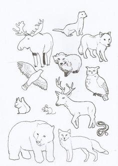 Tässä Metsän tarinan katsojille käyttöön kuva. Tein itse joten ei löydy kuin täältä (Alakoulun aarreaitta)ja Erityisen Ihanien sivuilta :-) Ajattelin että esim. A3 kokoiselle paperille piirtää metsän vahaväreillä tms, värittää tämän värityskuvan eläimet, leikkaa ja liimaa ne metsäkuvan päälle. (Laura Mattila)