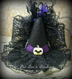 Mini Witch Hat Fascinator - Halloween Hat, Halloween Witch Costume, GIrl, Baby, Woman, Newborn Photo Shoot. $30.99, via Etsy.