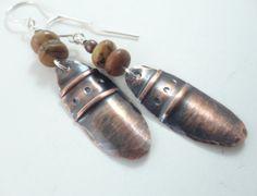 Fold Formed Copper & Red Creek Jasper Earrings by Ella & Tess, $30.00