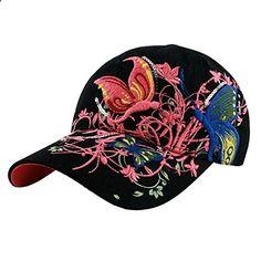 363295173d5 Zeagoo Women Black Outdoor Sports Baseball Tennis Hiking Cap Embroidered  Flowers Butterflies. Read more description