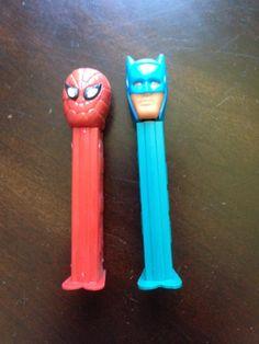 Vintage Pez Dispensers. Batman And Spiderman. 1978-85