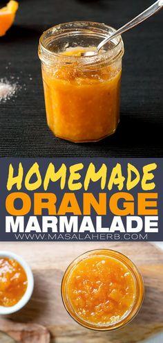 How to make Orange Marmalade Homemade Marmalade prepared with fresh oranges an Orange Marmalade Recipe, Marmalade Jam, Orange Jam Recipes, How To Make Orange, Jelly Recipes, Sauce Recipes, Drink Recipes, Jam And Jelly, Homemade Breakfast