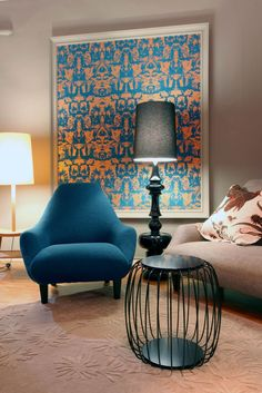 Timorous Beasties wallpaper - love the idea of framing something graphic, rather than covering walls in it.