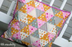 triangles with hand embroidery pillow