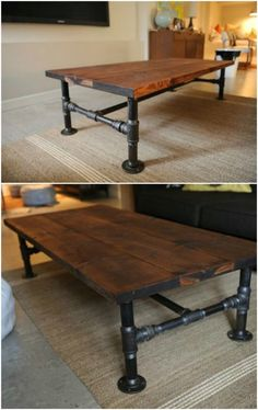diy industrial coffee table with plumbing pipe base Magnificent DIY Coffee Tabl. - diy industrial coffee table with plumbing pipe base – A coffee table are able to do much to set t - # Industrial Interior Design, Vintage Industrial Furniture, Industrial Table, Industrial House, Industrial Interiors, Industrial Office, Industrial Lighting, Modern Industrial, Table Cafe
