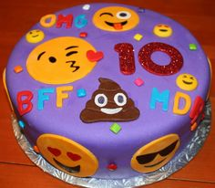 Emoji cake with homemade marshmallow fondant.