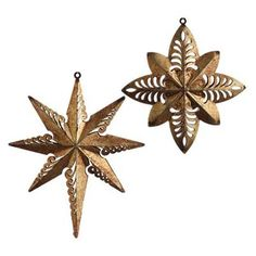 "RAZ 6"" Copper Star Christmas Ornament Set of 2"