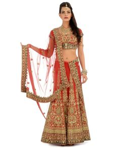 red gold lengha #indian #shaadi #wedding #southasian #shaadi #belles | courtesy Exclusively.in | for more inspiration visit www.shaadibelles.com