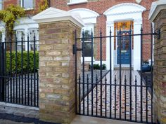 Cast iron gate, light stone posts and mosaic pathway in renovated period London front garden. Above Ground Pool Decks, In Ground Pools, Front Porch Pictures, Cast Iron Gates, Garden Design London, Small Front Gardens, Front Gates, Entrance Gates, Front Doors