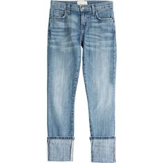 Current/Elliott The Cuffed Skinny Jeans (€170) ❤ liked on Polyvore featuring jeans, pants, bottoms, blue, current elliott jeans, slim jeans, zipper skinny jeans, slim fit jeans and slim fit skinny jeans