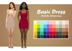 """a-sip-of-sims: """" Basic Dress Recolour • You'll need this mesh, By @rusty-sims • Recoloured in @wildlyminiaturesandwich 's palette • Tag me if you use • Teen - Elder • Not allowed for random """"TOU: """" • Don't be a b**ch ass ho :) download - sfs """""""