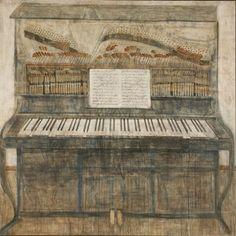 Piano. Painting by Merab Abramishvili, Georgian artist  1957-2006