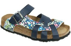 Pisa Soft Footbed Springflower Blue/Blue Birko-Flor The footbed of this unique style is layered with a dense foam to give you cushioned comfort all day. It is wonderful for sensitive feet. The curved strap and woven design hug your feet and the footbed supports your arches. Resoleable. #birkenstock #birkenstockexpress.com  $99