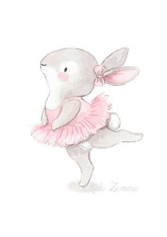 "Nursery Art ""BUNNY BALLERINA"" Art Print for girls, Pink Illustration, Nursery ballerina art, Ballerinas print, Baby girl wall art"
